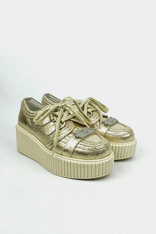 Gold Crinkled Leather High Platform Sneakers