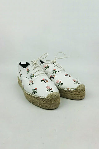 White Leather Floral Printed Lace-Up Espadrilles Oxfords