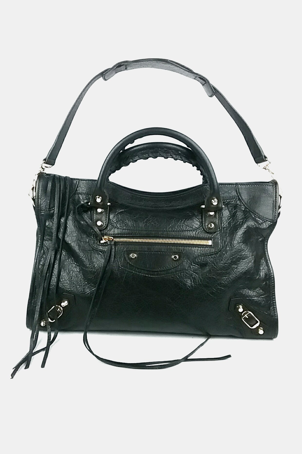 Black Leather City Bag with Gold Hardware