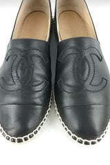 Black Leather Espadrilles - ON LAYAWAY