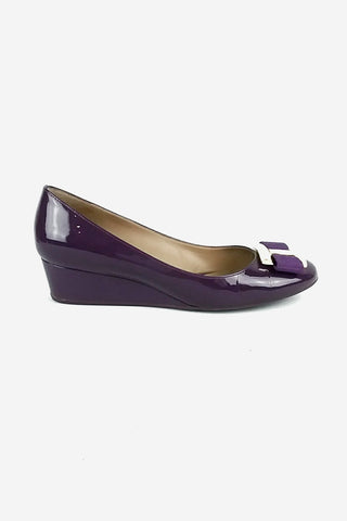 Fuschia Patent Leather Simple Pumps