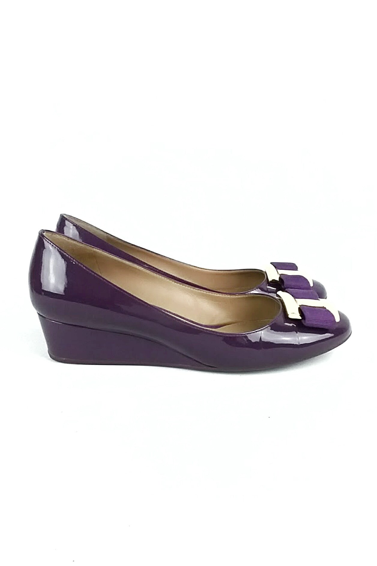 Purple Patent Leather Wedge Heels