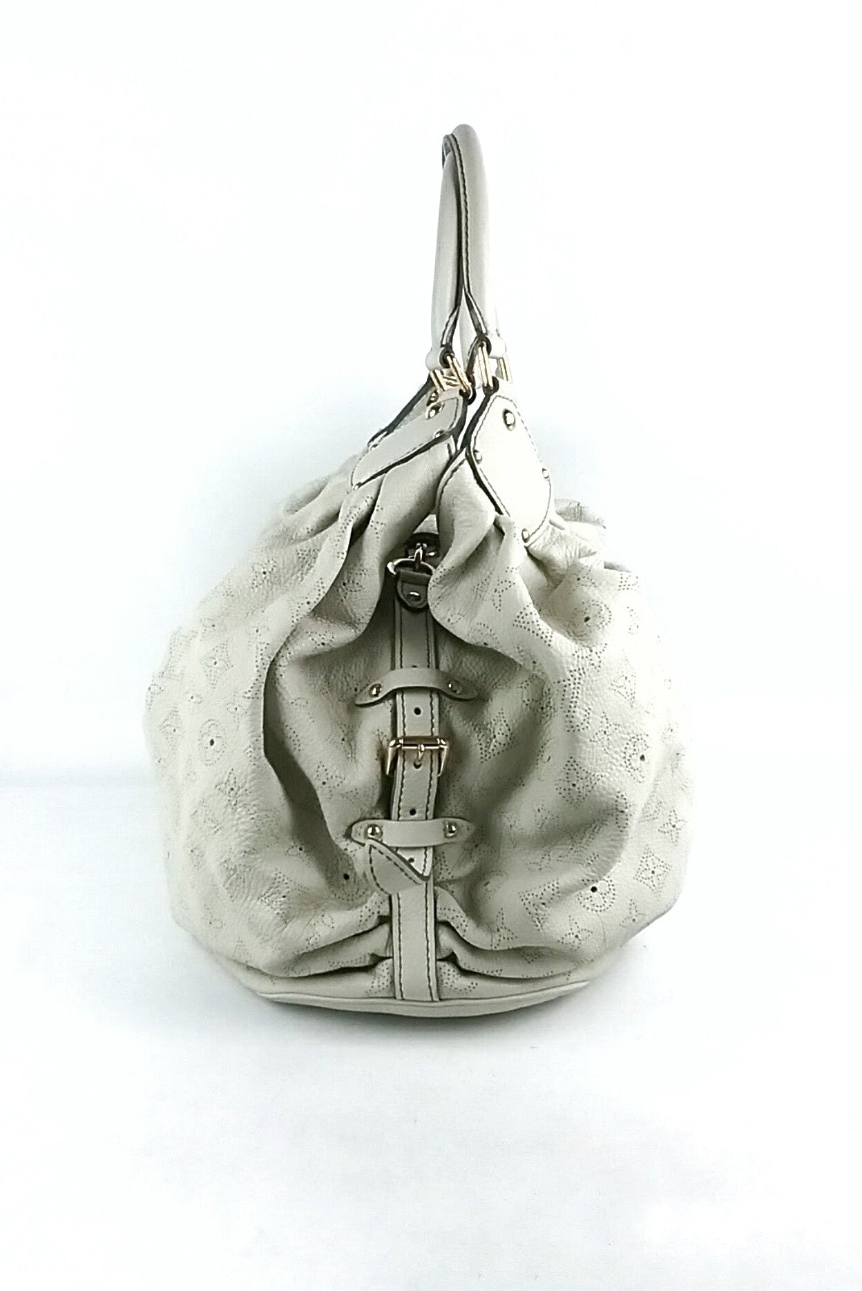 White Leather Mahina L Hobo Bag
