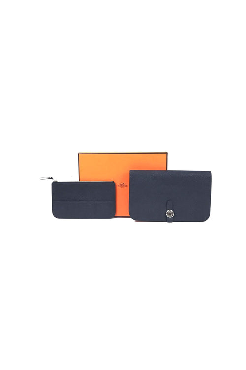 Bleu Nuit Clemence Dogon Duo Combined Wallet W/ PHW