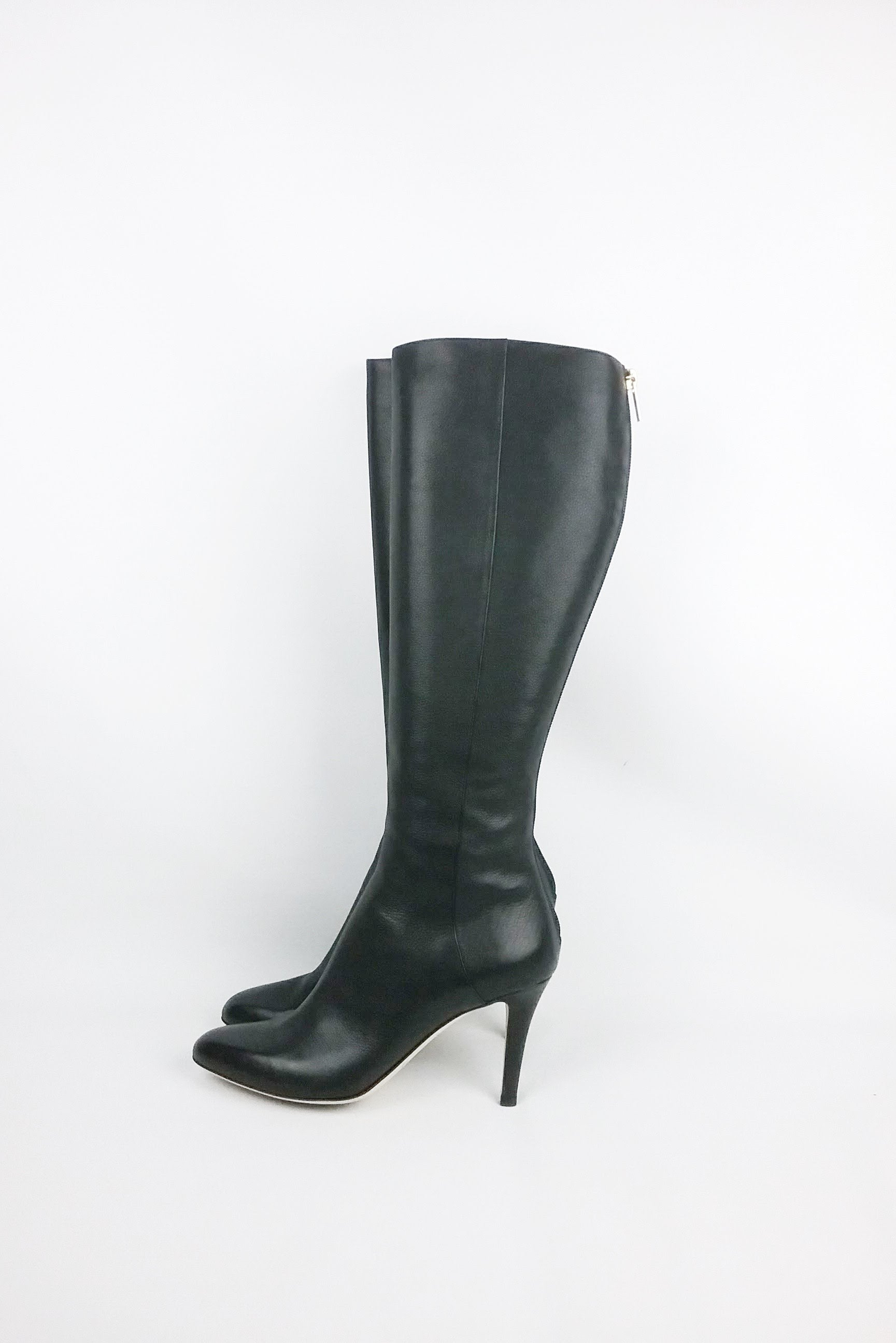 Black Grained Leather Knee High Boots