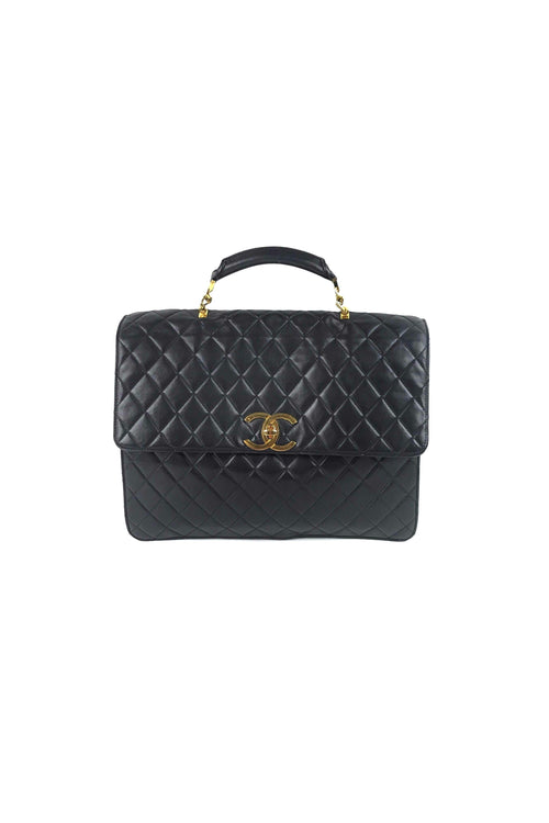 f7f6286c7e60 Vintage Black Quilted Lambskin Jumbo Briefcase W/ GHW