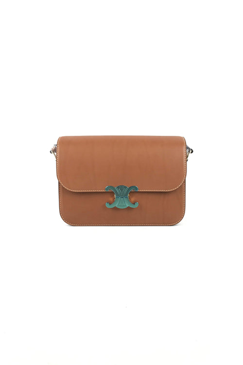 Tan Natural Calfskin Triomphe Medium Shoulder Bag