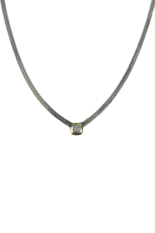 3 Strand Round Box Chain Diamond Necklace