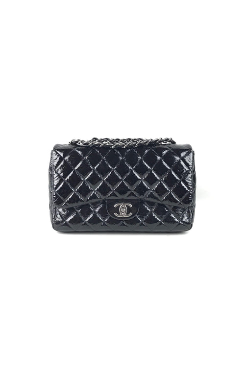 Black Quilted Crinkled Patent Leather Jumbo Single Flap Bag