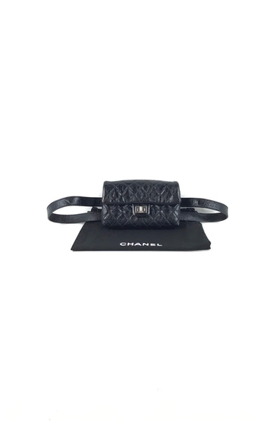Black Crinkled Calfskin 2.55 Reissue Flap Belt Bag W/SHW
