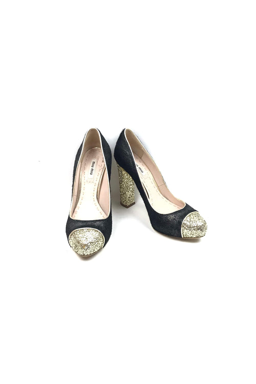 Black/Metallic Pony Hair/Gold Glitter Rounded Toe Pumps
