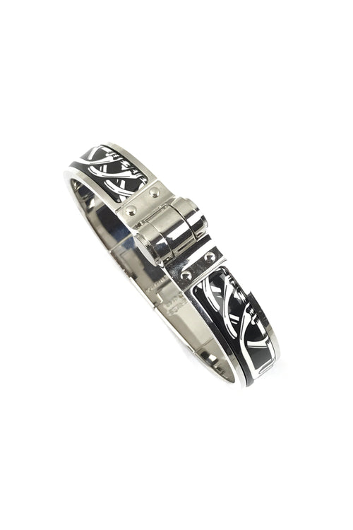 Black/White Enamel Hinged Bracelet
