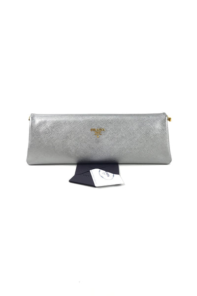 Argento Saffiano Lux Frame East West Clutch