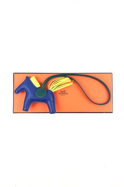 Blue/Green/Yellow Tri-color Leather Rodeo Charm PM