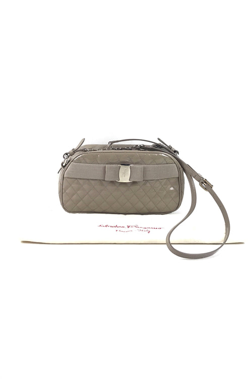 Grey Patent Quilted Leather Camera Bag W/SHW