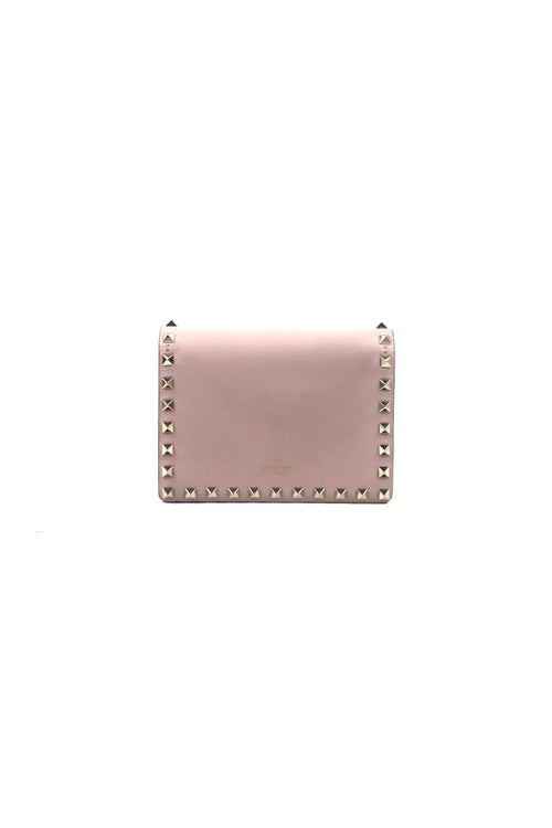 Blush Pink Rockstud Mini Crossbody Chain Flap WOC W/GHW
