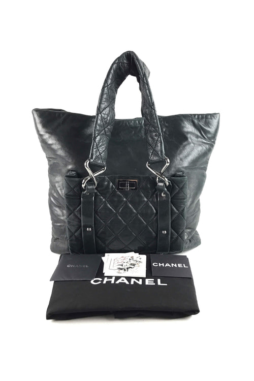 Black Leather Reissue Calfskin Quilted Tote