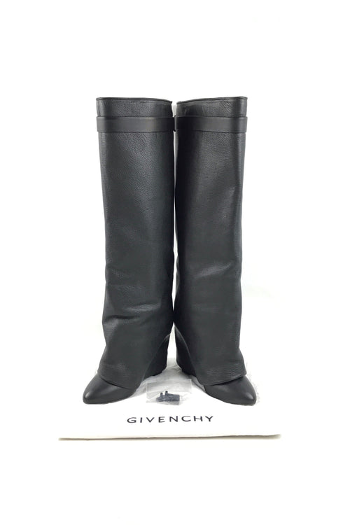 Black Leather Shark Lock Knee-High Boots W/GHW