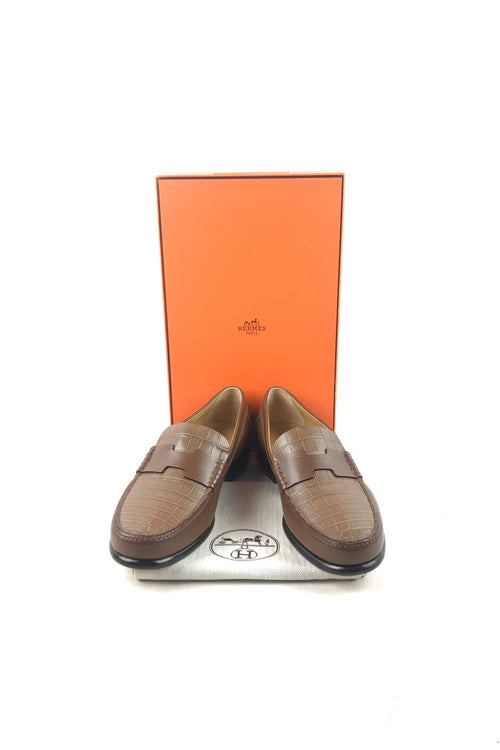 Brown Crocodile/Smooth Leather Kenned Men's Loafers