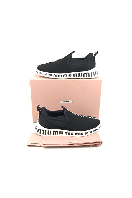 Miu-Run Black Crystal Slip-On Sneakers
