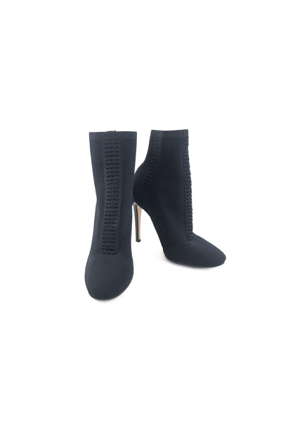 Black Fabric Knitted Vires 105 mm Ankle Boots