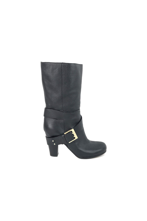 Black Grained Leather Mid-Calf Prince Boots