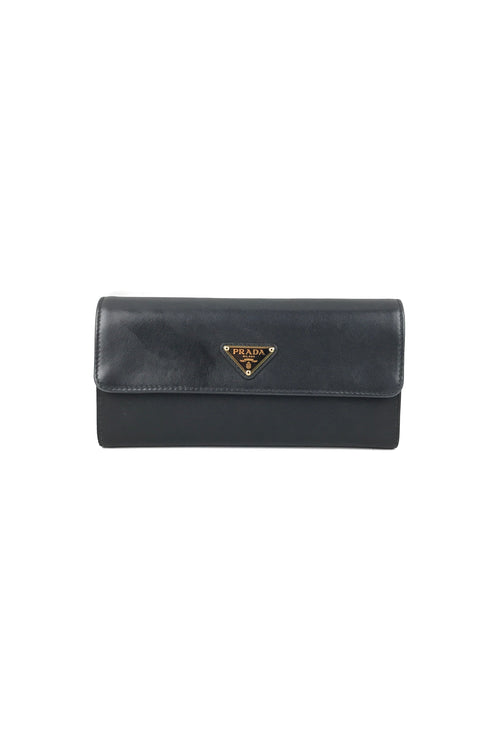 Black Nylon/Leather Continental Wallet W/GHW