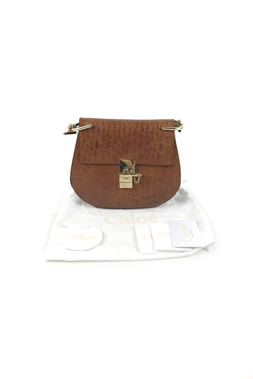 Mahogany Croc Embossed Calfskin Leather Drew Bag W/GHW