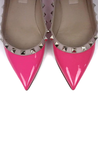 Hot Pink Patent Leather Rockstud Pointed Toe Flats