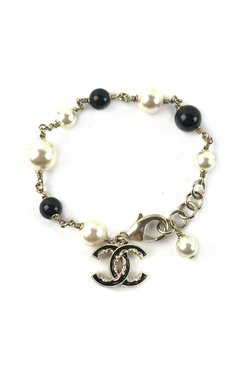 Beige Gold Black/White Pearl/Black Enameled CC Station Charm Bracelet