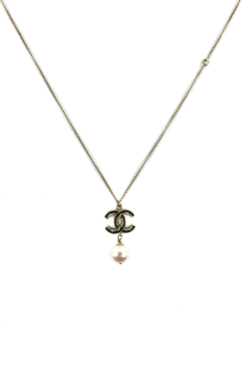 Beige Gold Black Enameled CC Station Pearl Drop Pendant Necklace
