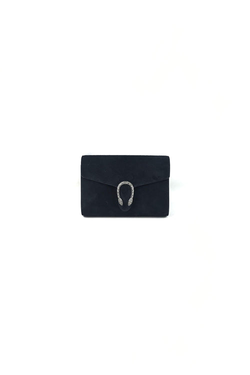 Black Suede Mini Dionysus Crossbody Chain Bag W/RHW