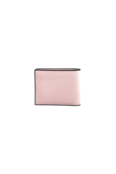 Light Pink Grained Leather Bifold Wallet W/Black Costa-Lacquered Edges