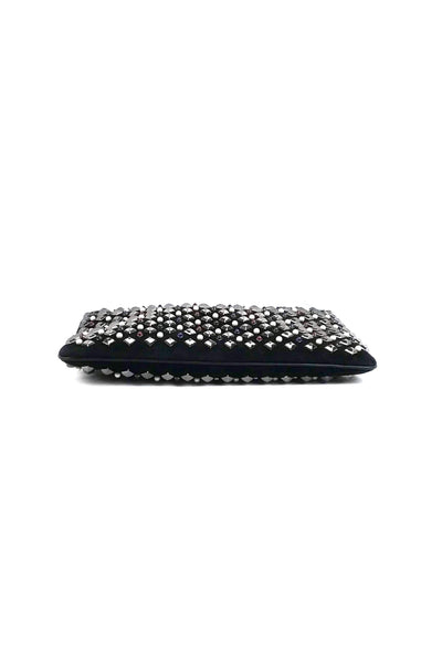 Black Suede Loubiposh Tudor Spike Clutch w/ Crossbody Leather/Chain Strap - Haute Classics