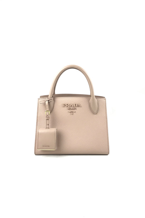 Nude Pink Monochrome Small Saffiano Leather Bag W/GHW