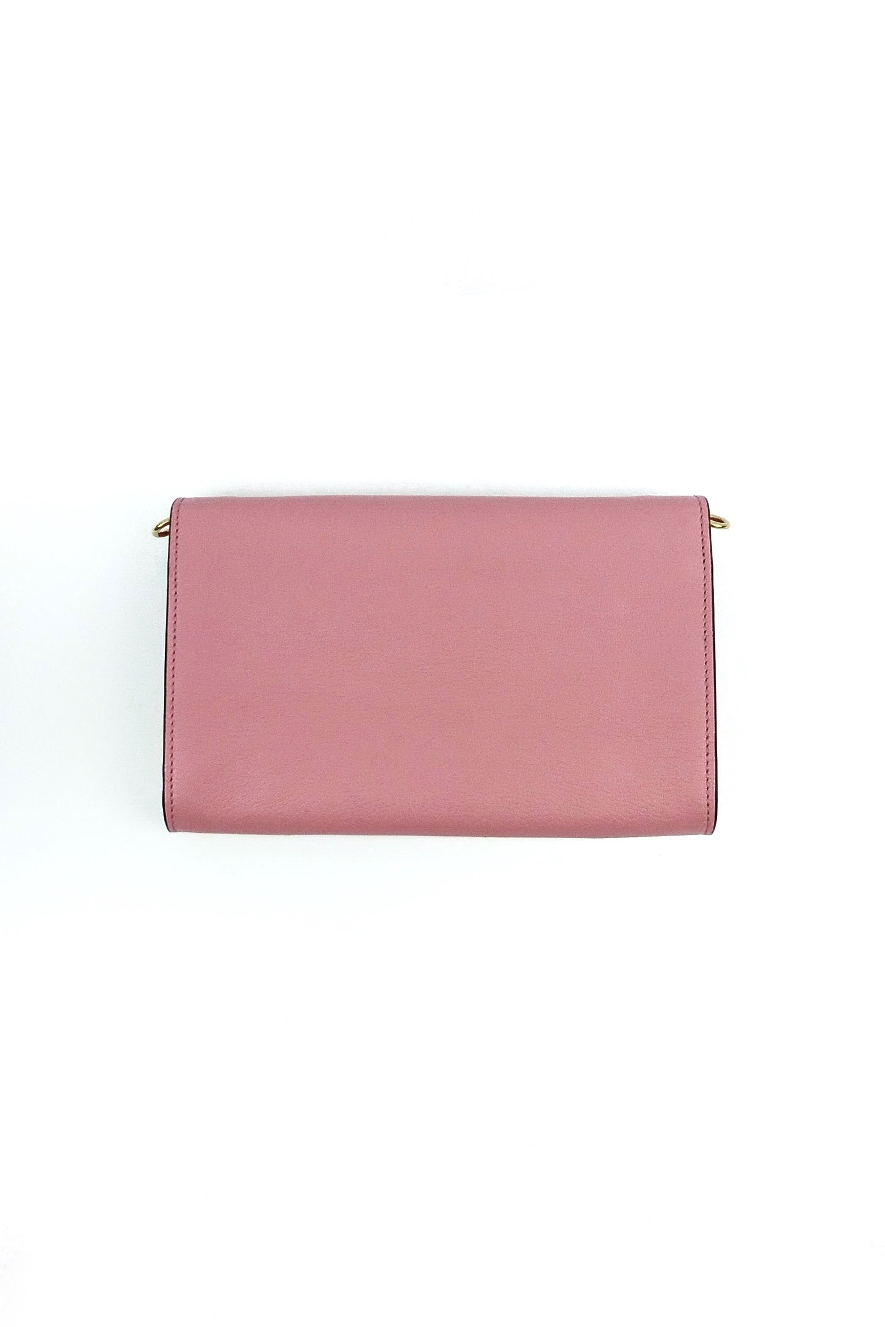 Pink Leather Envelope Clutch w/Snakeskin Strap