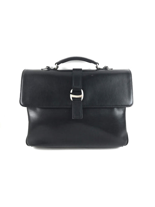 Black Smooth Leather Briefcase W/ SHW