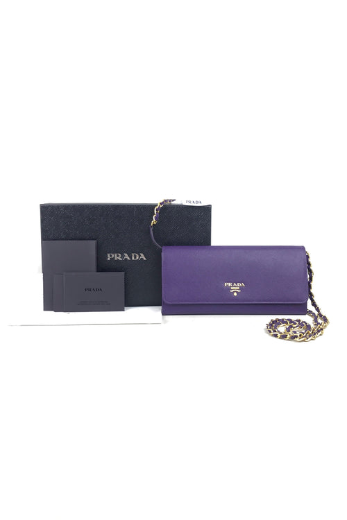 Purple Saffiano Wallet On Chain W/GHW