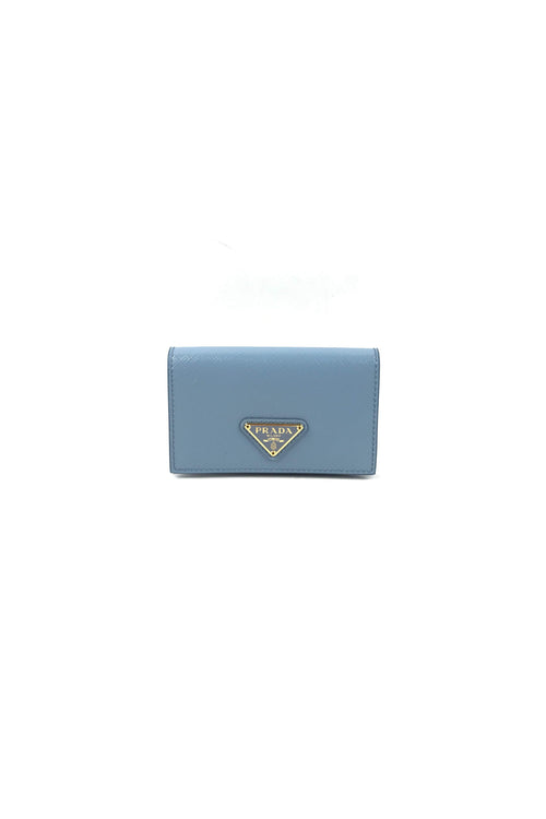 Astrale Blue Saffiano Leather Card Case