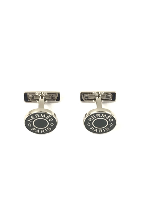 Sterling Silver/Green Enamel Cuff Links