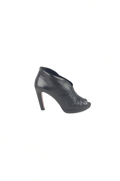 Black Leather Ruched Accent Peep-Toe Booties - Haute Classics