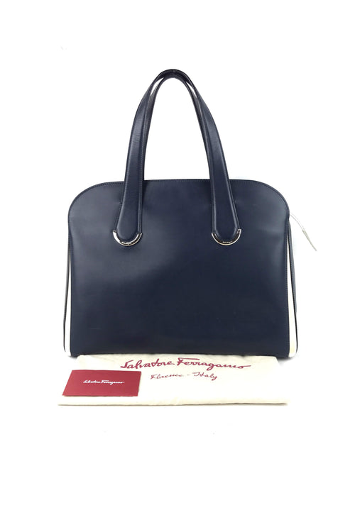 Smooth Leather Navy/White 2 Tone Tote W/ SHW