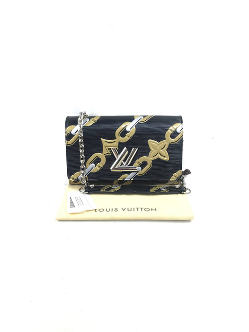 Noir Epi Leather LV Twist Chain Wallet Shoulder Bag W/SHW