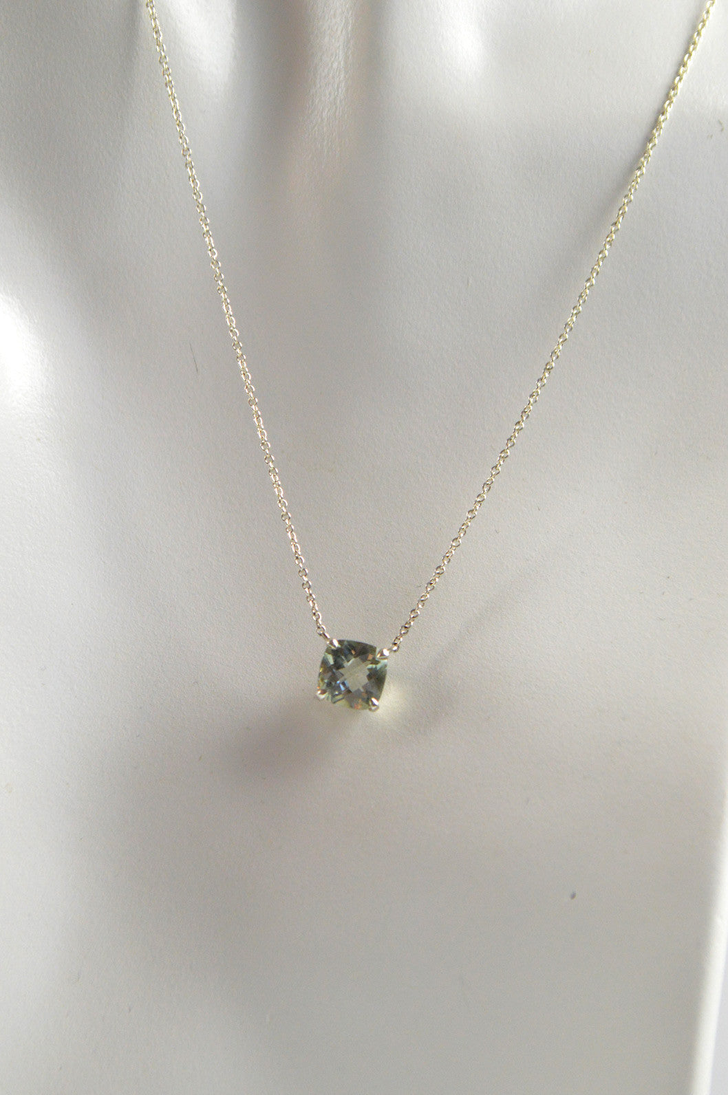 Sterling silver sparklers green quartz cushion cut pendant sterling silver sparklers green quartz cushion cut pendant necklace audiocablefo Light gallery
