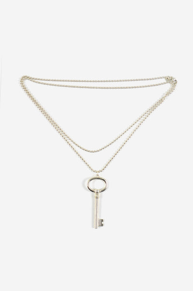 Sterling Silver Oval Key Pendant With Bead Necklace