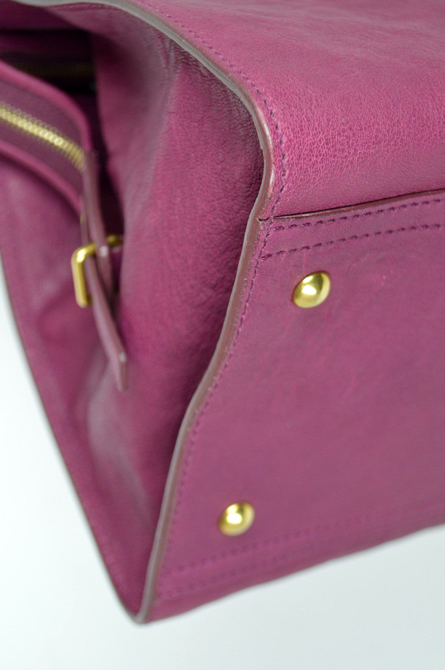 "Magenta Leather ""Cabas ChYc"" Satchel"