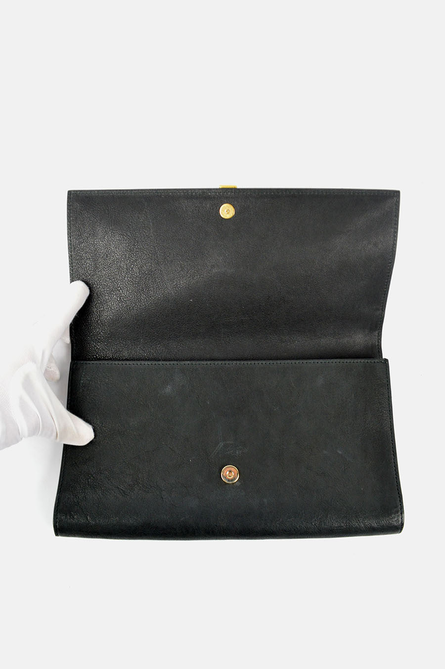 Charcoal Gray Leather Clutch