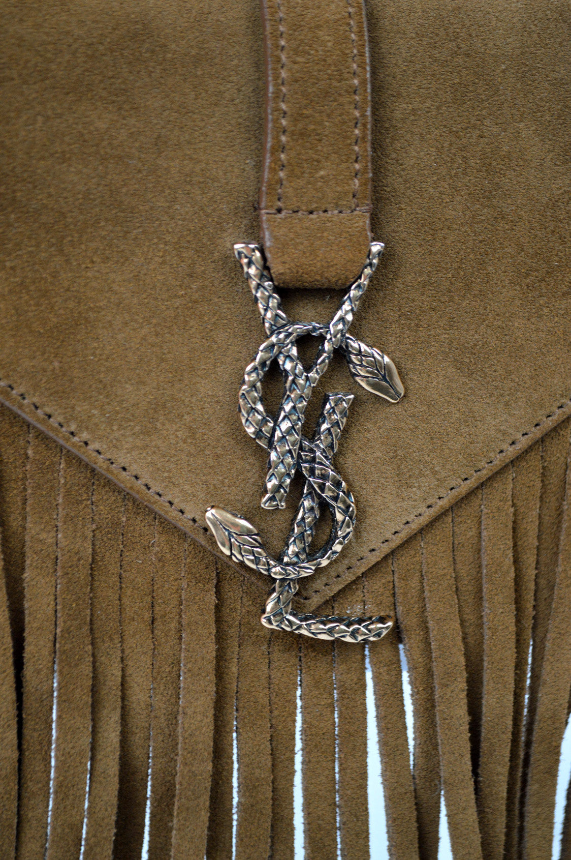 Small Serpent Fringe Suede Crossbody Bag