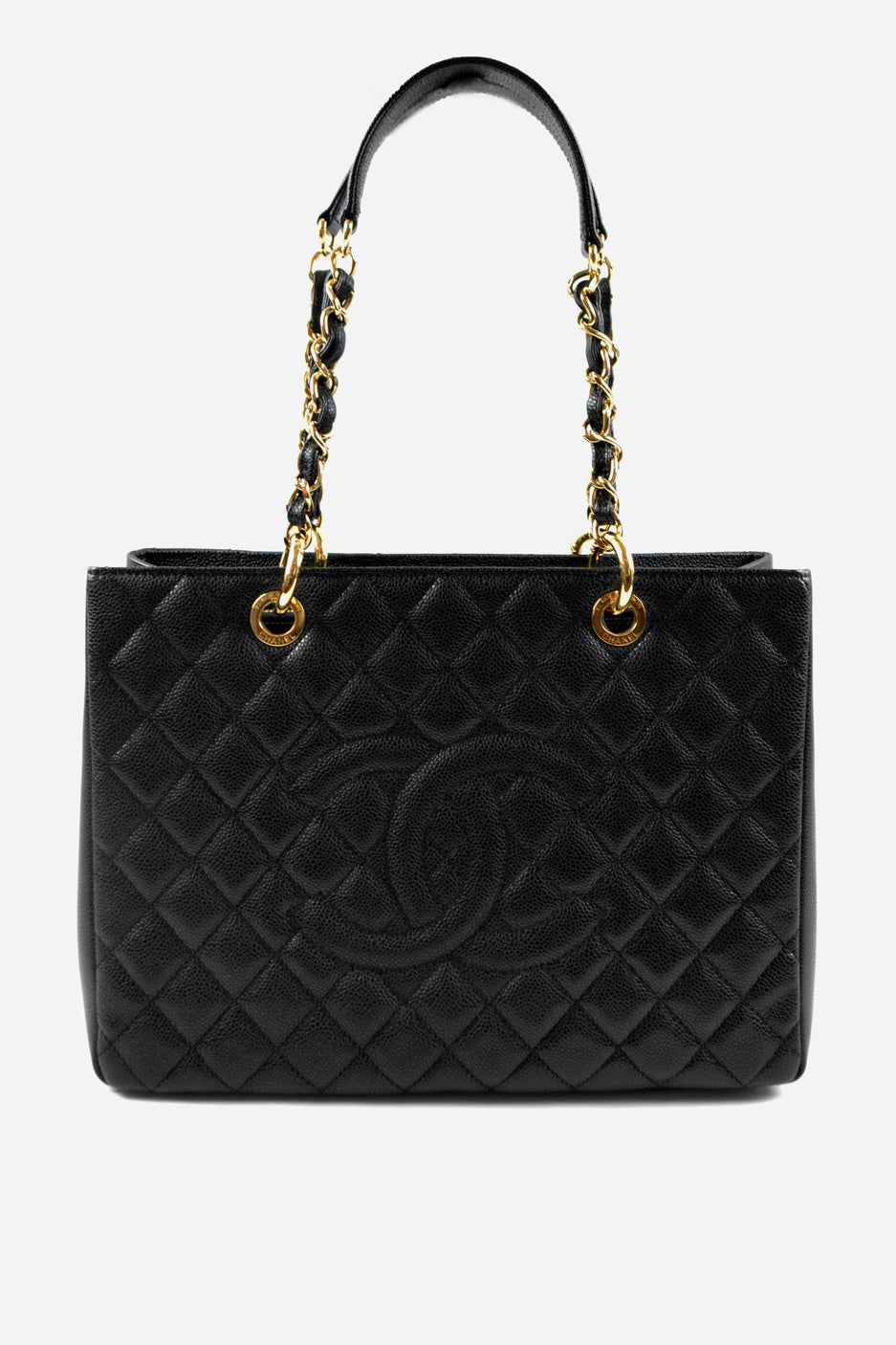 Black Caviar Leather Grand Shopping Tote GHW