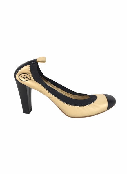 Chanel Beige/Black Leather Elastic Ballet Pumps